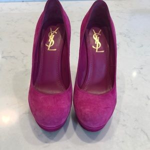 Authentic YSL hot pink suede platform